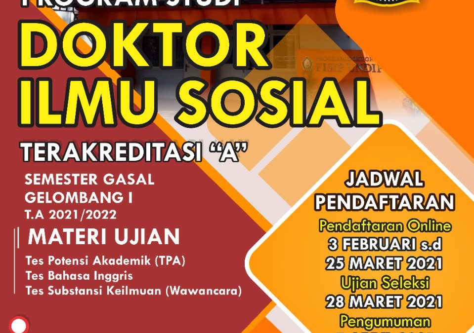 Pendaftaran Program Doktor Ilmu Sosial Semester Gasal Gelombang I T.A 2021/2022