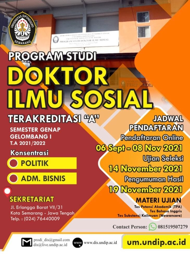 New Student Admission Of Doctoral Program In Social Science – Universitas Diponegoro